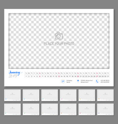 Convenient wall calendar 2019 year vector