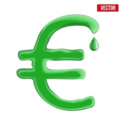 Currency euro in green liquid form vector image