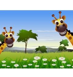 cute couple giraffe cartoon with landscape backgro vector image
