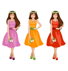 cute girls in spring or summer fashion dress vector image