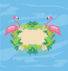Decorative frame with flamingos and nature vector