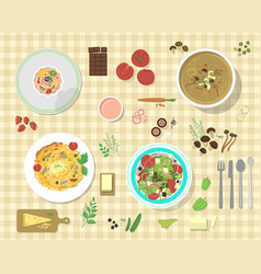 different plates with pasta bolognese and vector image