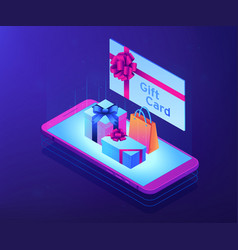 digital gift card isometric 3d concept vector image