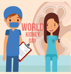 Doctor surgeon and patient world kidney day vector