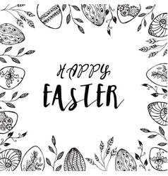 Easter frame with easter eggs vector