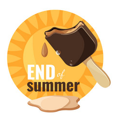 End of summer melting ice cream vector