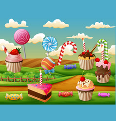Fantasy sweet land with cup cake and candies vector