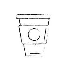 Figure delicious coffee in plastic cup icon vector
