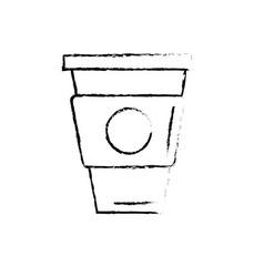 Figure delicious coffee in plastic cup icon vector