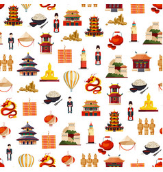 flat style china elements pattern vector image
