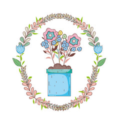 Flowers in garden pot with wreath crown vector