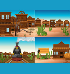 four western scenes with buildings and train vector image