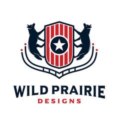 fox animal logo design and vintage shield vector image