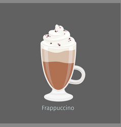 Frapuccino in irish glass mug flat vector