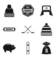 Frost chill icons set simple style vector