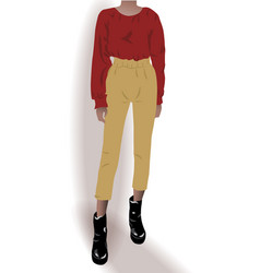 Girl dressed in black shoes yellow pants and red vector