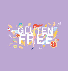 gluten free banner cartoon flat vector image
