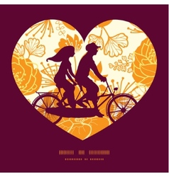 golden art flowers couple on tandem bicycle vector image