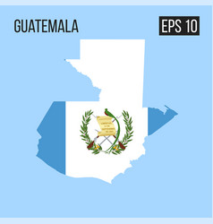 Guatemala map border with flag eps10 vector