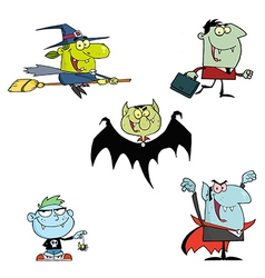 Halloween Monsters Cartoon Characters vector image