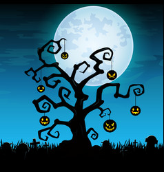 Halloween night background with hanging pumpkin on vector