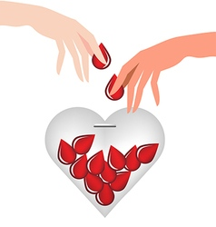 Hand donate blood drop put in heart glass vector image