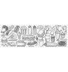 Hand drawn junk food doodle set vector