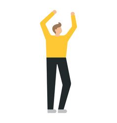 Happy business with raised hands man on a white vector