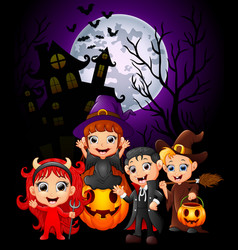 Happy halloween purple background with children in vector