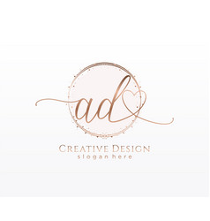 Initial ad handwriting logo with circle template vector