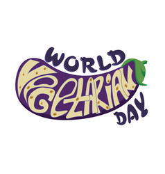 inscription the world vegetarian day inscribed vector image
