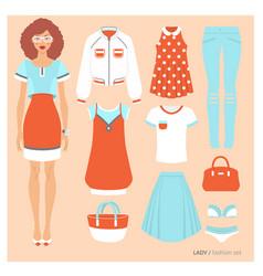 Lady fashion set vector
