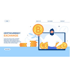 Landing page advertise cryptocurrency exchange app vector