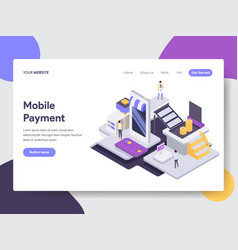 landing page template mobile payment concept vector image