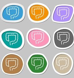 Large intestine symbols Multicolored paper vector