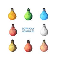 Low poly light bulbs set vector