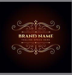luxury brand name golden floral logo concept vector image