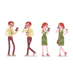 male and female clerk with gadgets vector image