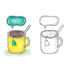 mug with tea watercolor vector image
