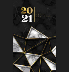 new year 2021 gold triangle black marble card vector image