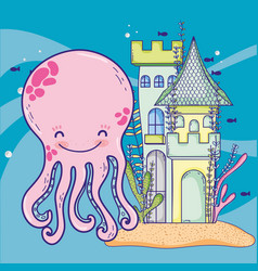 Nice octopus with castle and seaweed plants vector