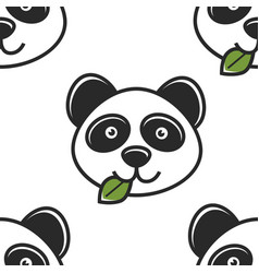 Panda with leaf in mouth seamless pattern chinese vector