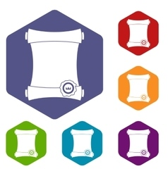 Paper scroll with wax seal icons set vector