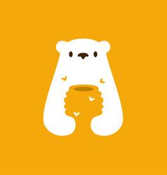 Polar bear honey hive bee negative space logo icon vector