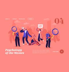 Psychology masses landing page template big vector
