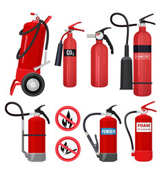 Red fire extinguishers firefighters tools for vector