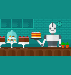 Robot waiter working at pastry shop vector
