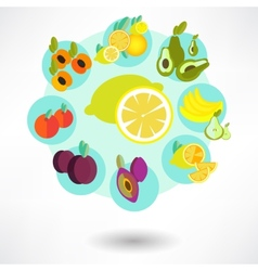 round card with food icons vector image