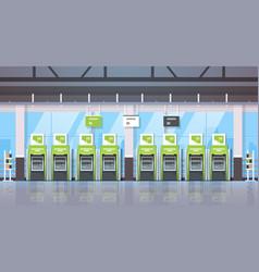 Row atm money automatic teller machine payment vector