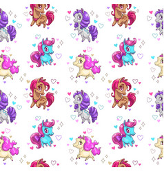 Seamless pattern with cute cartoon pony vector